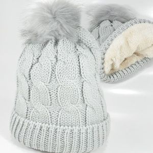 Cozy Winter Light Silver  Beanie Pom Pom Faux Fur.
